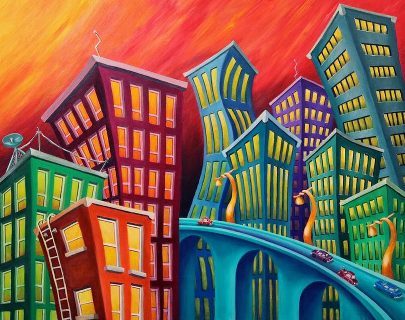 Cuadros modernos pinturas y dibujos cuadros ciudades - Cuadros con colores calidos ...