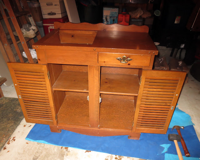 Vintage thrift store dry sink cabinet