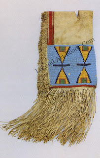 This style was best accomplished by embroidered beadwork. Floral designs were first introduced to Hama girls by French nuns in the early eighteenth century For the western Plains tribes, the use of geometric, angular patterns reflects their indigenous geometric style as well as the stark, strong forms so prevalent in dry grass-land landscapes.