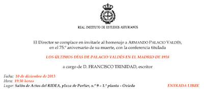 Invitación a la conferencia de Francisco Trinidad sobre Palacio Valdés