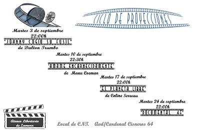 CICLOS DE CINE EN SEPTIEMBRE 2013 Todos los martes de septiembre comenzando a las 22 HORAS, los compañeros del Ateneo Libertario de Zamora continúan con los ciclos de cine. Proyección y posterior debate. Entrada gratuita.