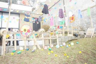 Varal decorando festa junina
