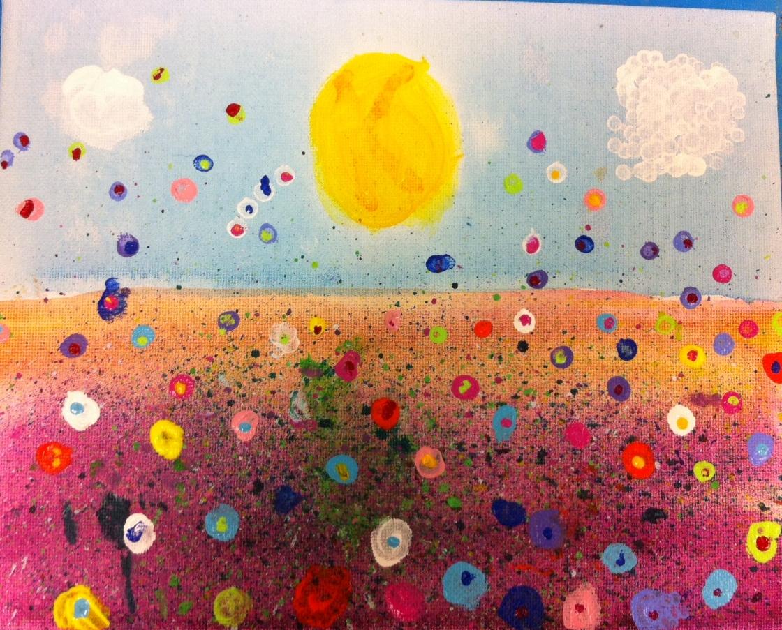 Angela Anderson Art Blog: Fun Splatter Floral Paintings - Kid\'s Art ...