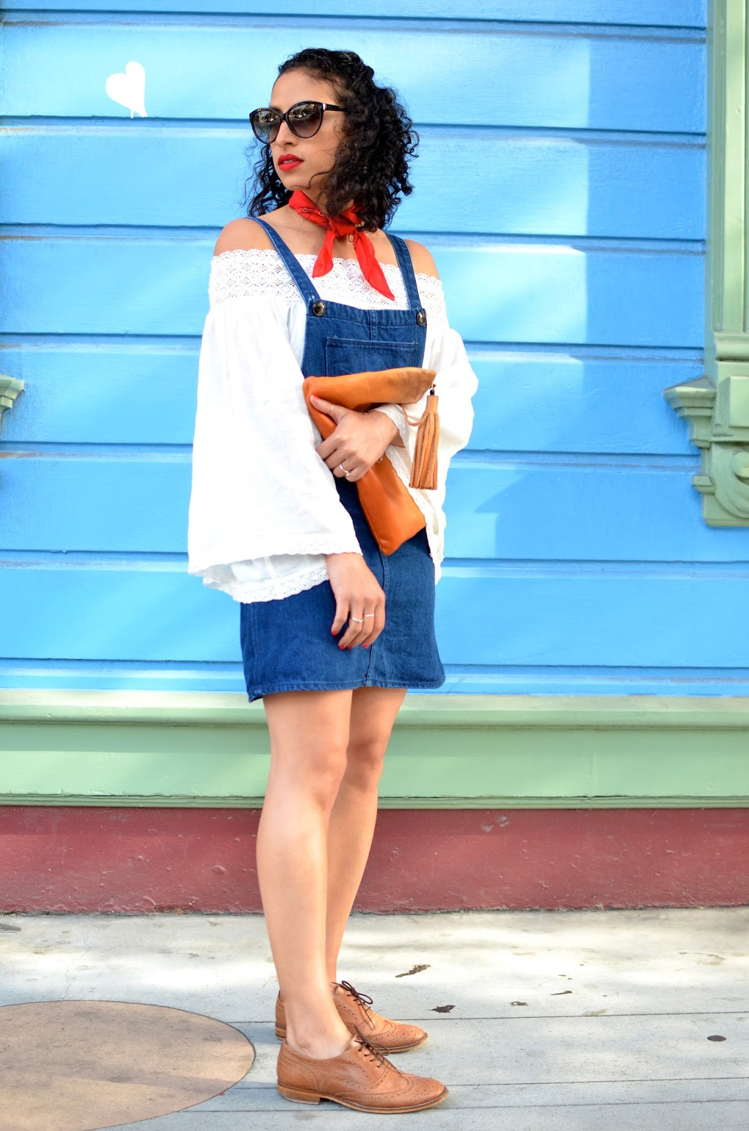 pride weekend, sf street style, skirt overalls, red lips, Stila beso lipstick, oxfords, off the shoulder top, summer style, red neck bandana, red bandana, neck scarf bandana