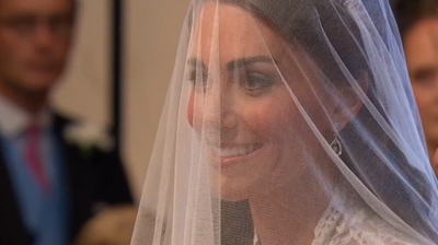 Catherine smiles behind her veil. YouTube 2011.
