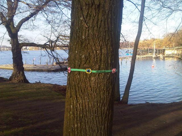 Guerilla Knitting um einen Baum an der Alster herum