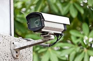 An outdoor security camera.