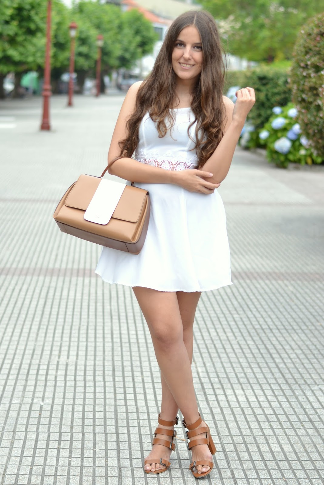 outfits white dress, camel sandals