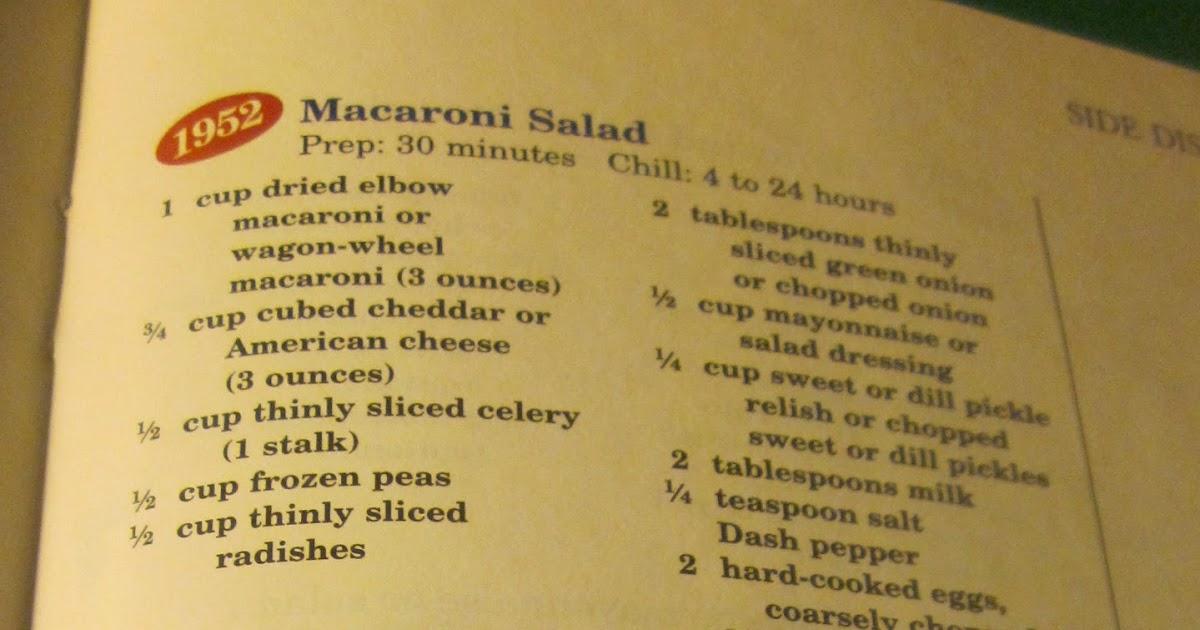 Grandma 39 S Vintage Recipes 1952 Macaroni Salad From Better