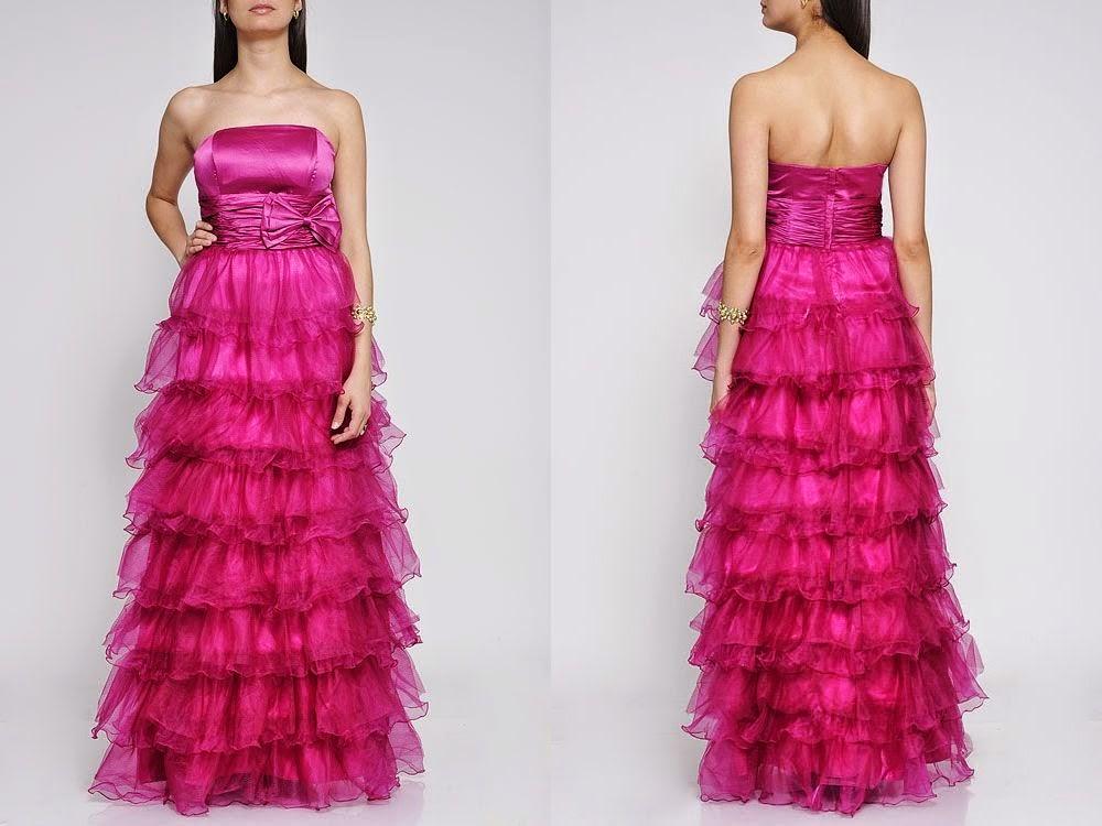Modelo de vestido rosa com saia em camadas - dicas e fotos