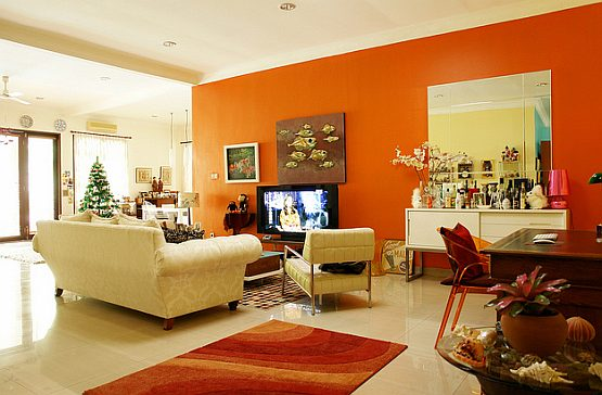 Orange and grey living room ideas