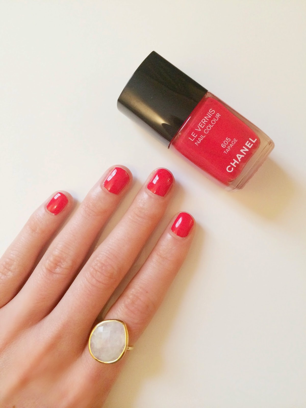 chanel tapage, chanel nail polish, monica vinader ring, red nail polish