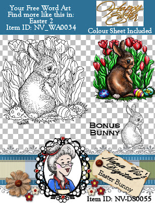 Digital Stamps Easter Bunny by Nana Vic