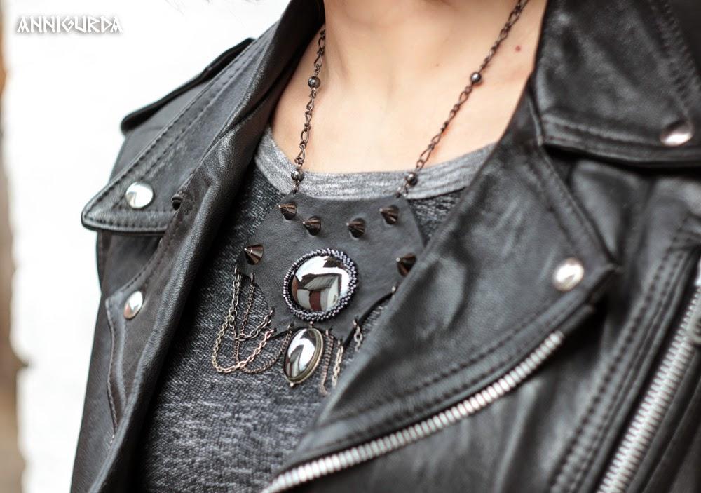 колье, кожа, металл, шипы, гематит, цепи, рок, байкер, неформальный стиль