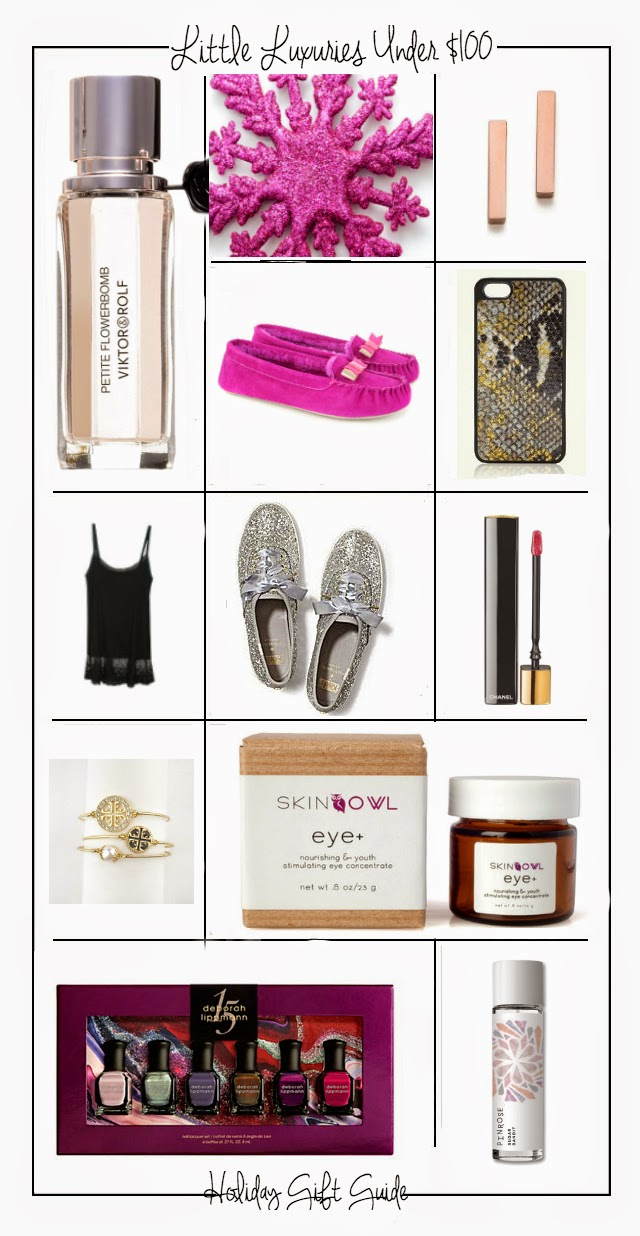 Little Luxuries Under $100, Gift Guides, Holiday Gift Guide, Gift Guides 2014, For the Girlie Girl, Boston Fashion, holiday shopping, Stocking Stuffers