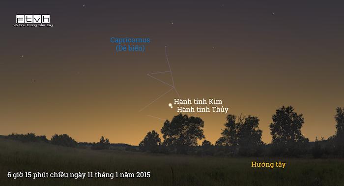 Minh họa bầu trời hướng tây lúc 6 giờ 15 phút chiều ngày 11 tháng 1 năm 2015.