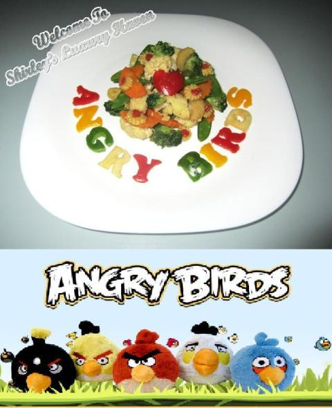 angry birds, mixed vegetables, capsicum, broccoli, cauliflower