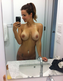self shot hot mirror tits black iphone brunette belly button pierce bathroom HD HQ pics