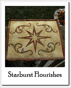 Star Flourishes mug rug at Freemotion by the River