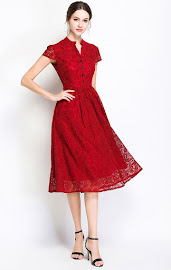 2018 Short Sleeve Black/Red Front Line Button Flare Lace Dress