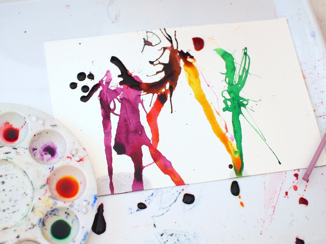 liquid watercolor blow art - preschool art