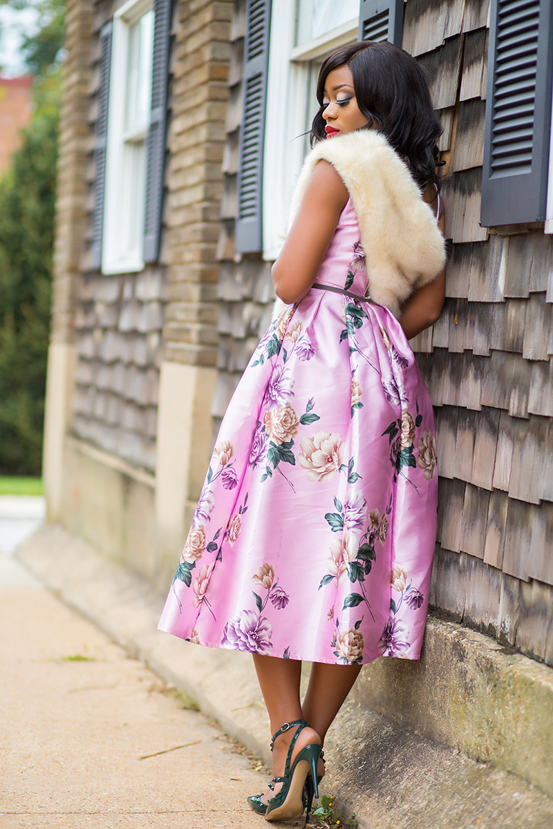 Floral dress for wedding event, chicwish floral dress, Valentino rockstud