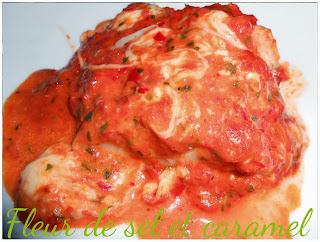 Dos de cabillaud nappé de sauce poivron et mozzarella