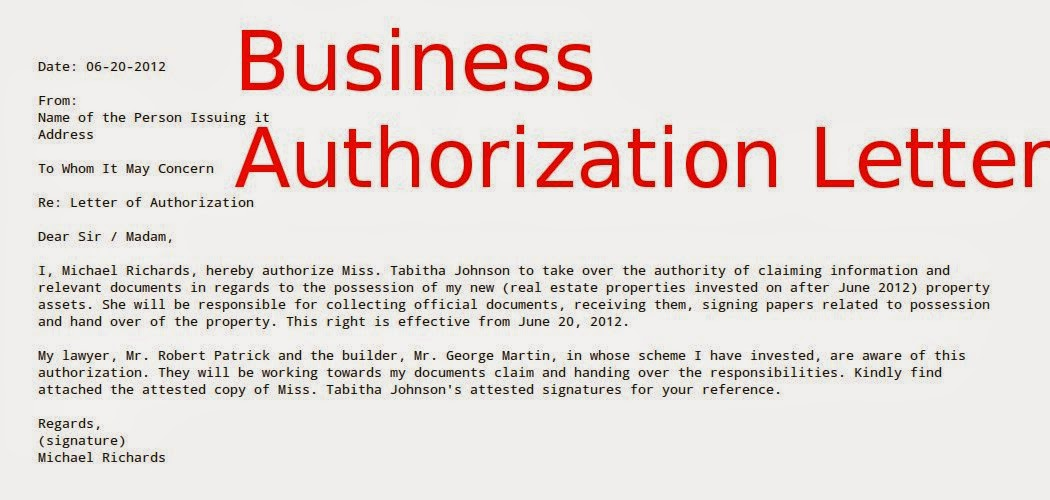 Business Authorization Letter  Samples Business Letters