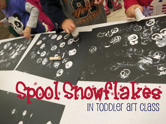 http://librarymakers.blogspot.com/2013/01/toddler-art-class-spool-snowflakes.html