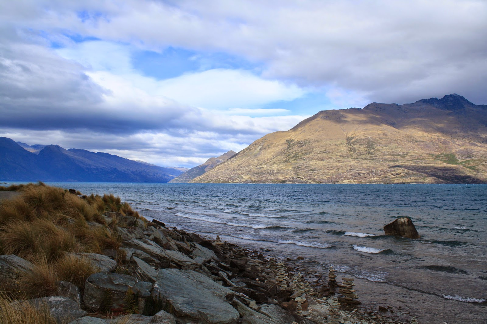 The shores of Lake Wakatipu, Queenstown, South Island.