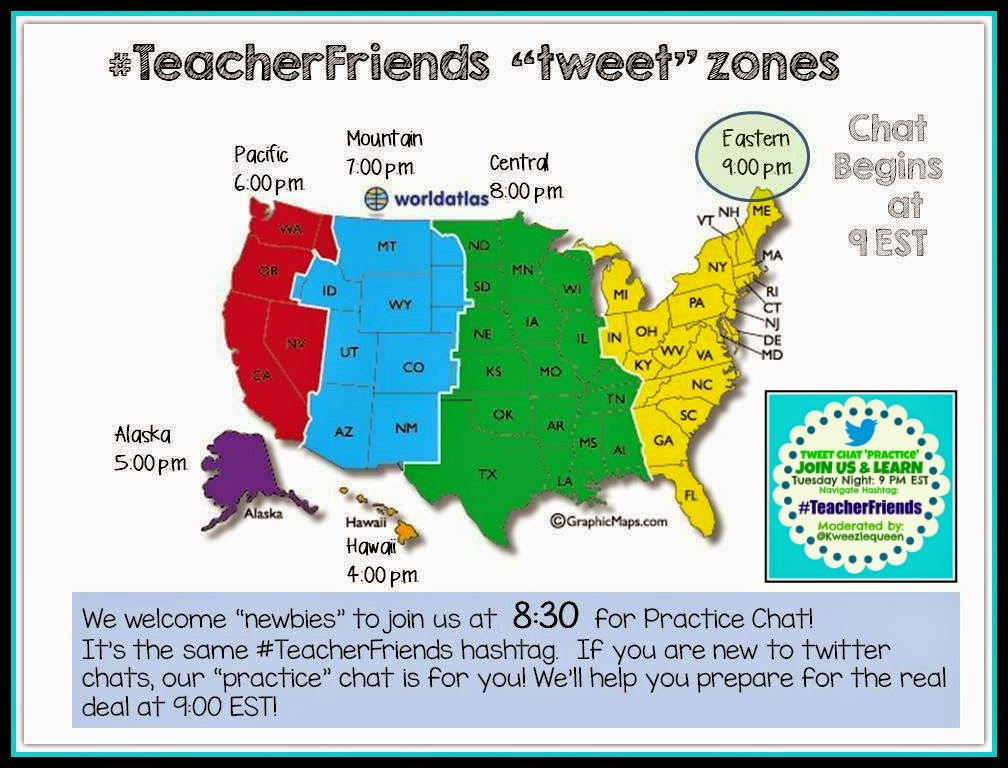 #TeacherFriends Tweet Zones! 9PM EST with 8:30 Newbie Early-Bird PRACTICE Chat