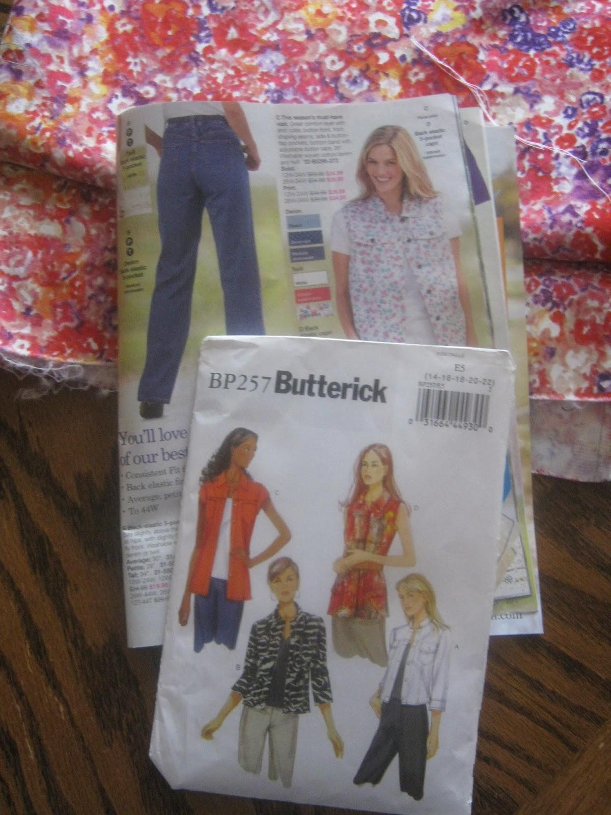 Butterick 5616 BP257 denim floral vest www.sewplus.blogspot.com