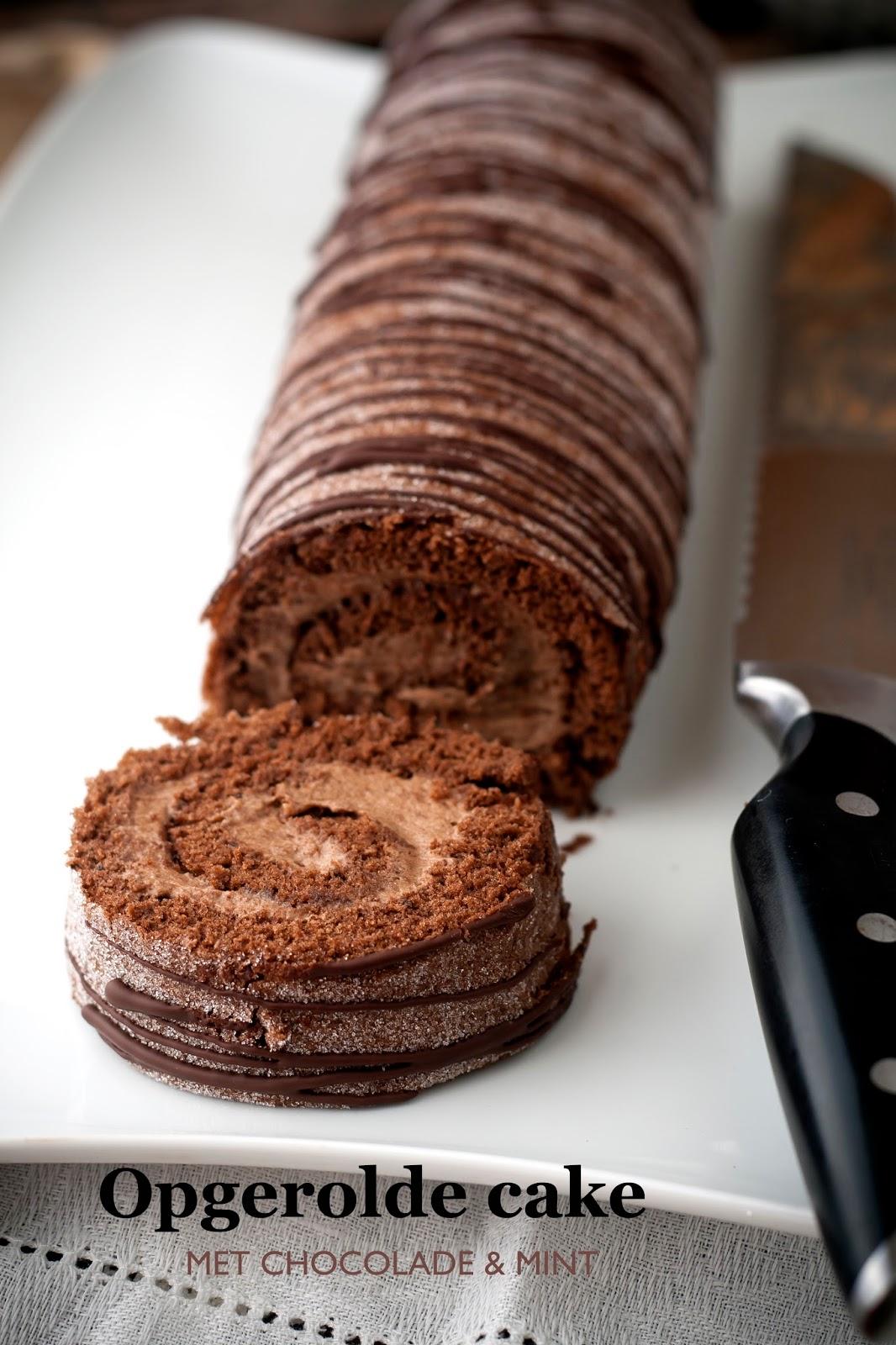 Opgerolde cake met chocolade en mint hap en tap - Chocolade nachtkastje ...