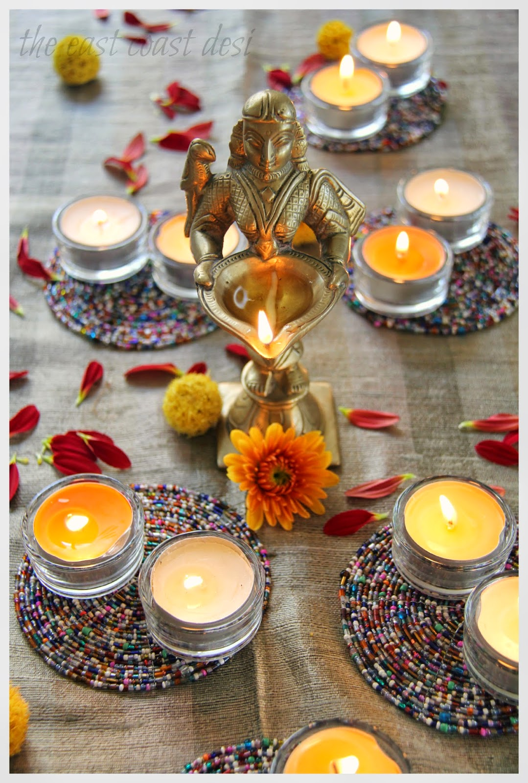 The east coast desi diwali tablescape inspiration day 2 for Diwali decoration material