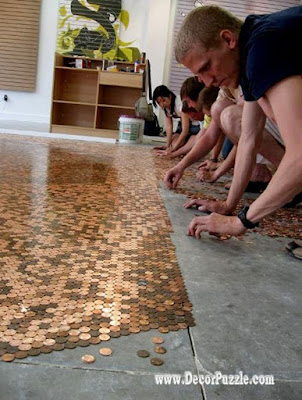 penny floor,copper penny floor tile installation