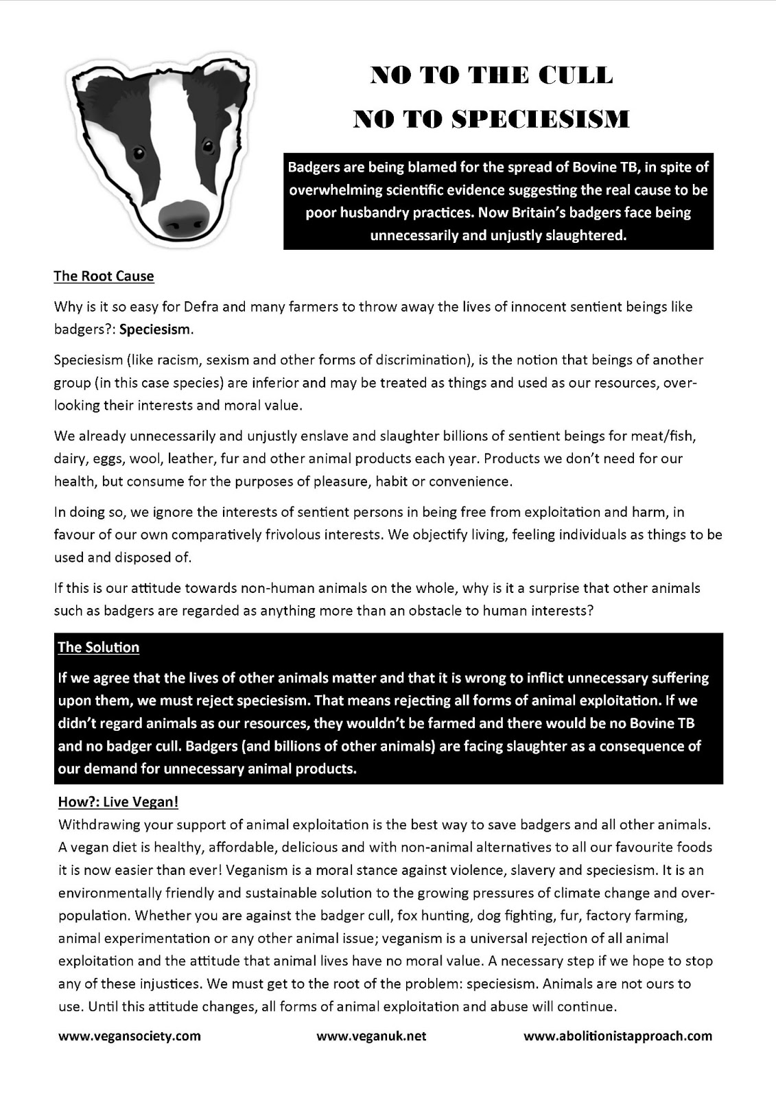 veganism for animal rights free anti badger cull leaflet poster