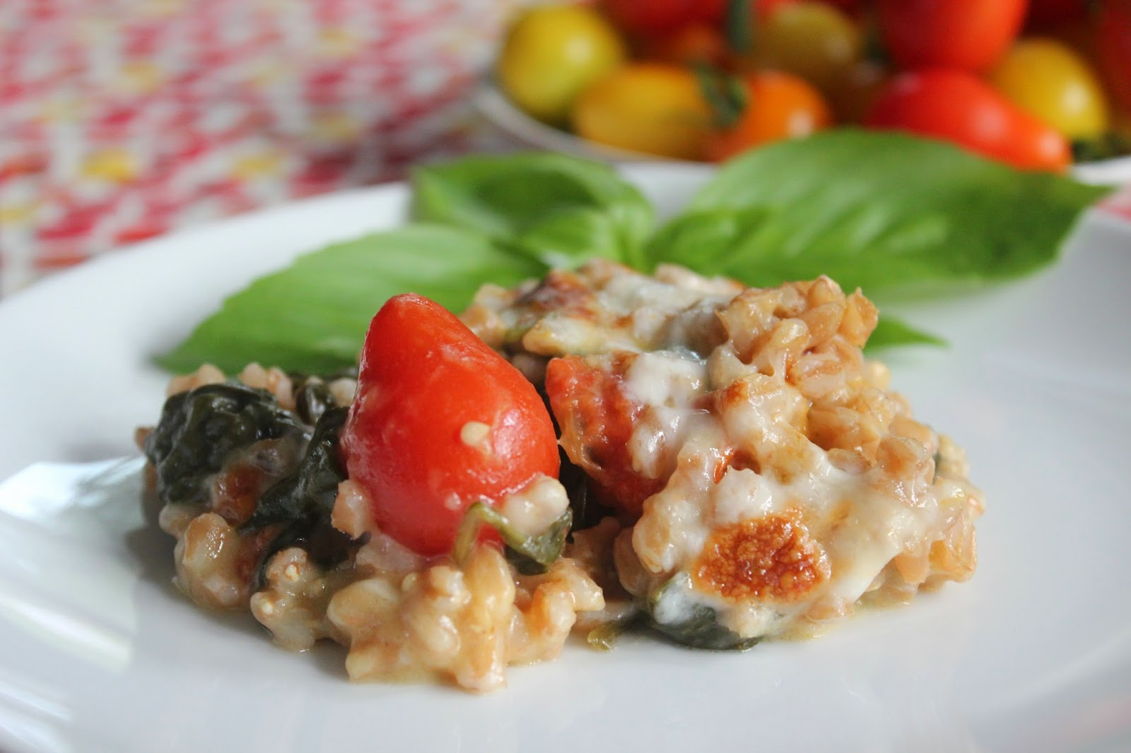 Roasted tomato farro bake