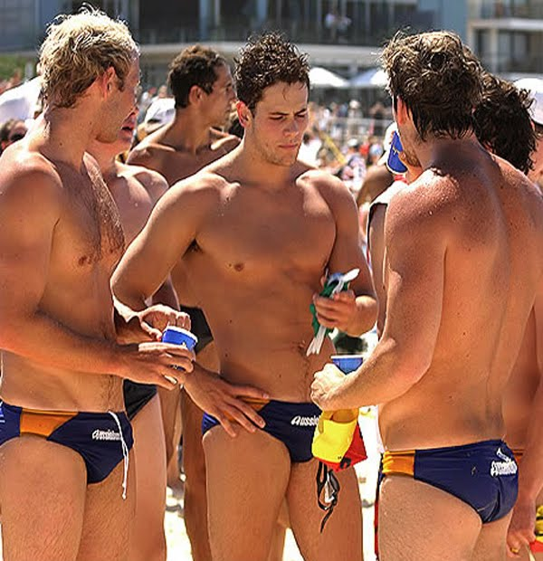 three hot australians in speedos