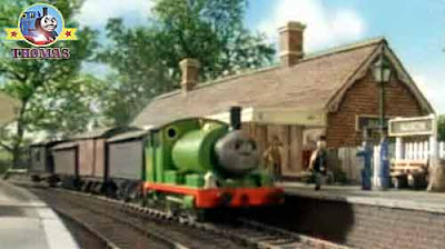 Thomas Percy the train puffed into the Island of Sodor Maron station his driver the Fat Controller