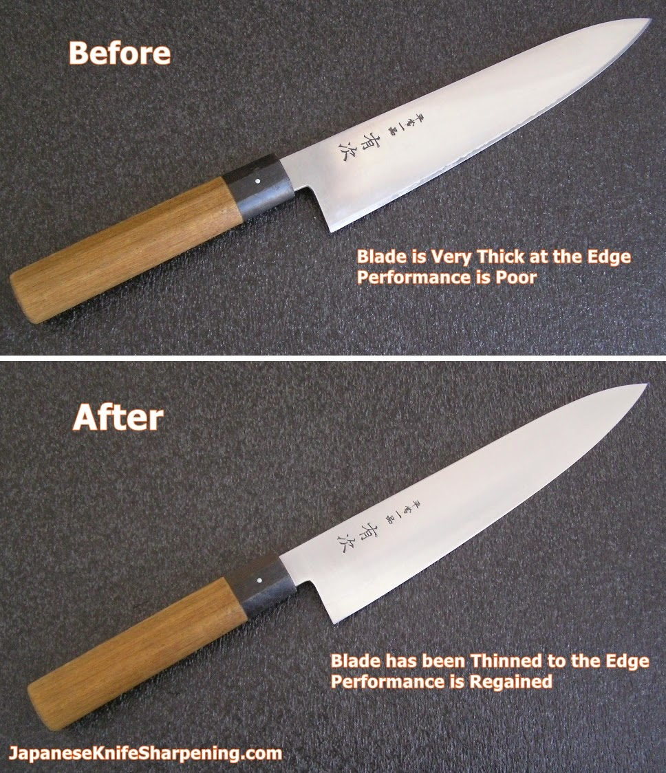 japanese knife sharpening blog blade thinning service again this is typical not in anyway a special job and it s typical of what you can have done to your aging knives if interested
