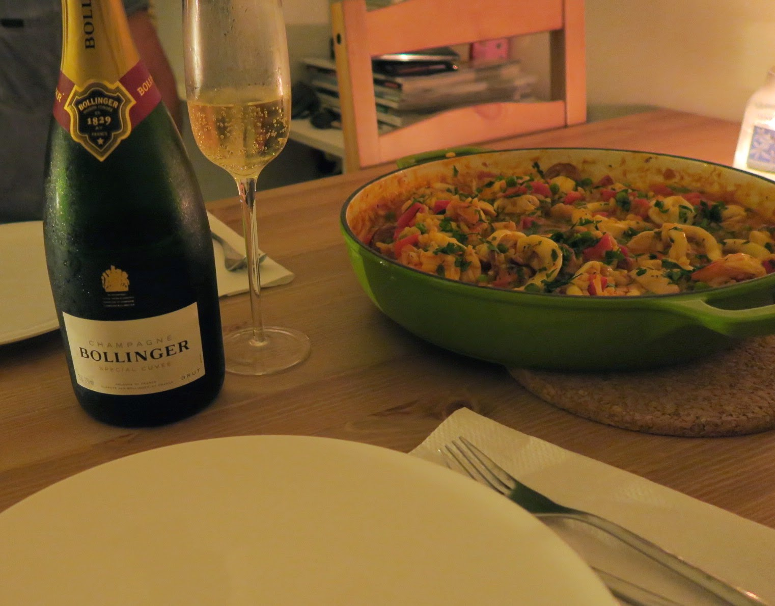 chorizo, chicken and seafood paella inspired by Jamie Does.
