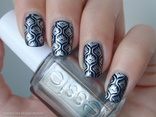 My last manicure for 2012: Dark Blue Life 343 stamped with Essie No Place Like Chrome with m83 plate