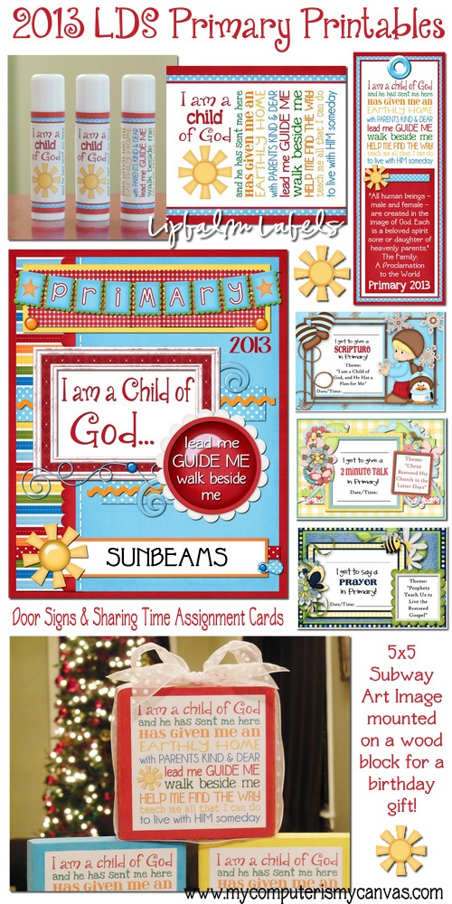 My Computer is My Canvas: 2013 LDS Primary Printables!