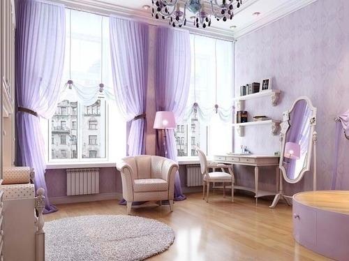 Desain interior ungu, rumah minimalis