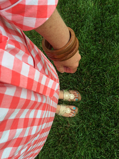 kayce hughes gingham tunic dress 4th of july preppy outfit