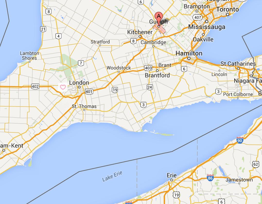 image Map Showing Southwest Ontario