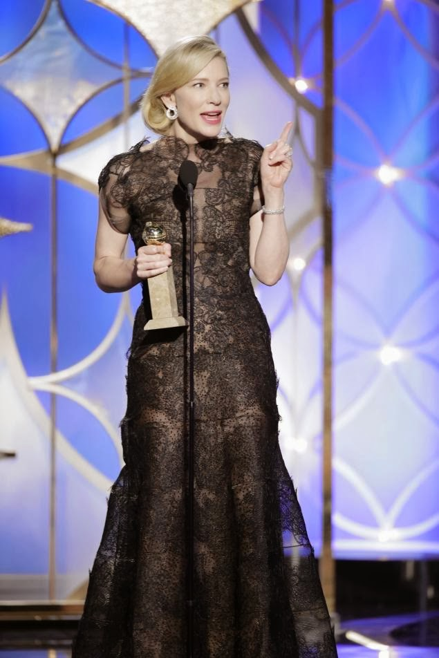 Cate Blanchett accepts the award for Best Actress in a Motion Picture, Drama for Blue Jasmine