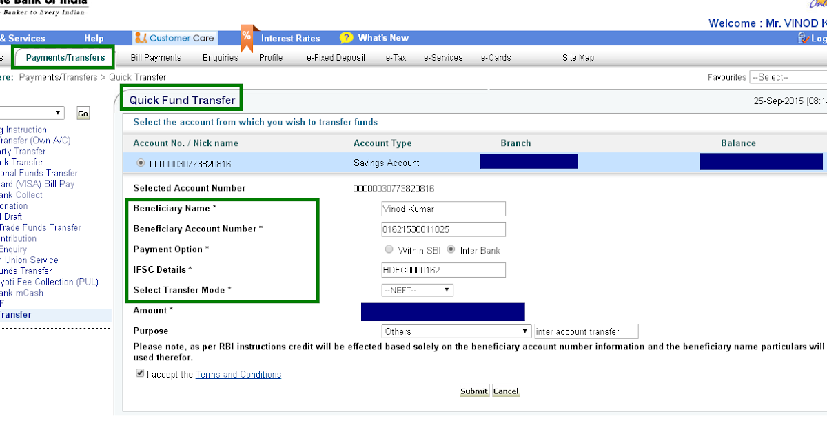 M.A AUDITS & ACADEMI: How to Quick Transfer in SBI Net ...