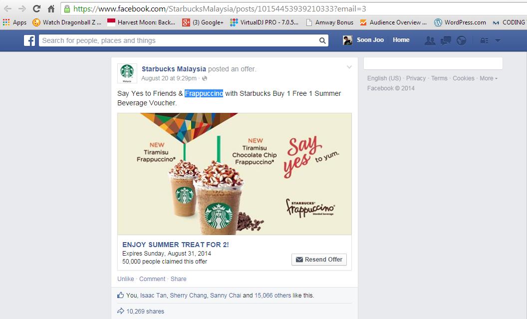 Starbucks Malaysia Offering Buy 1 Free 1 Tiramisu Frappuccino or Tiramisu Chocolate Chip Frappuccino from 20 August 2014 until 1st September 2014.