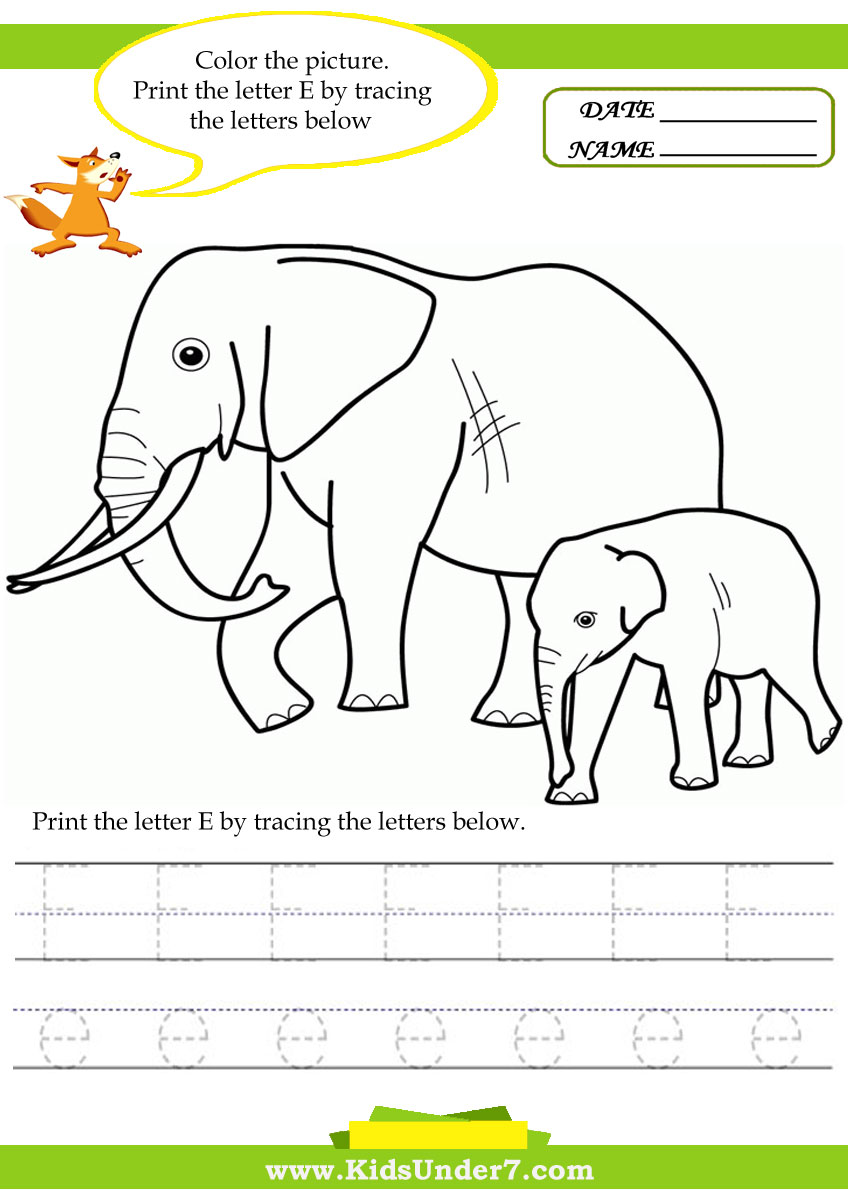 Kids Under 7: Alphabet worksheets.Trace and Print Letter E